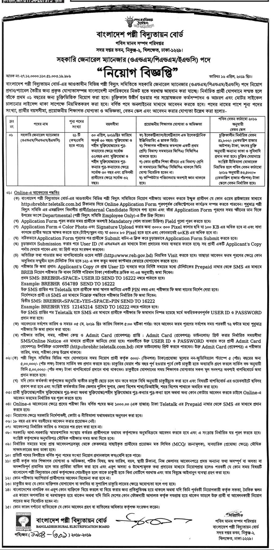 BD Govt Job Palli bidyut online application